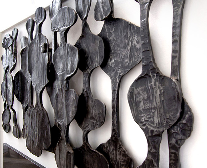 'Detail of African Art Inspired Wall Relief Sculpture'. By Dimitri Gerakaris. Hand-forged Iron. 1980