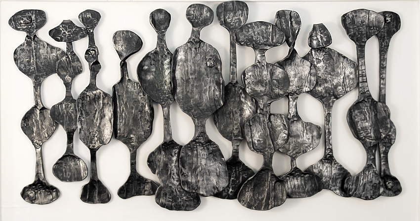 'African Art Inspired Wall Relief Sculpture'. By Dimitri Gerakaris. Hand-forged Iron. 1980