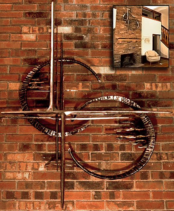 'Skyworks Wall Relief Sculpture'. By Dimitri Gerakaris. Hand-forged Iron. 1980
