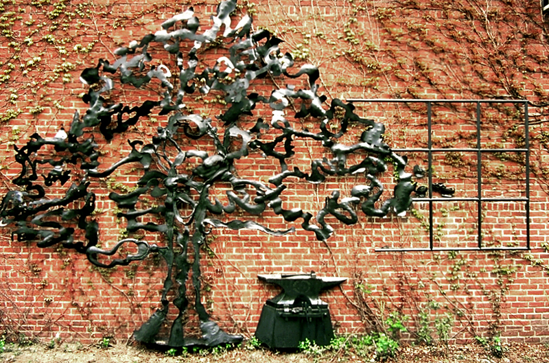 'Longfellow Spreading Chestnut Tree Memorial Relief Sculpture - Cambridge MA'. By Dimitri Gerakaris. Hand-forged Iron. 1989